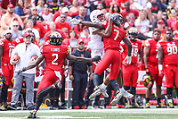 College Park, MD - September 15, 2018:  Maryland Terrapins defensive back Tino Ellis (7) breaks up a pass during the game between Temple and Maryland at  Capital One Field at Maryland Stadium in College Park, MD.  (Photo by Elliott Brown/Media Images International)