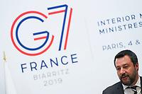 Matteo Salvini - Ministre de l Interieur et Premier Ministre Italie<br /> <br /> Parigi Place Beauveau 5/4/2019 <br /> G7 Ministri dell'interno <br /> Foto JB Autissier/Panoramic/Insidefoto