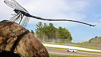 Racing past a dragonfly sculpture, Barber Motorsports Park, Leeds, AL. (Photo by Brian Cleary/www.bcpix.com)