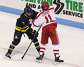 Jonathan Lashyn (Merrimack - 7), Patrick Curry (BU - 11) - The visiting Merrimack College Warriors defeated the Boston University Terriers 4-1 to complete a regular season sweep on Friday, January 27, 2017, at Agganis Arena in Boston, Massachusetts.The visiting Merrimack College Warriors defeated the Boston University Terriers 4-1 to complete a regular season sweep on Friday, January 27, 2017, at Agganis Arena in Boston, Massachusetts.