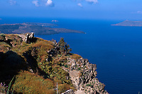 Küste bei Fira, Insel Santorin (Santorini), Griechenland, Europa