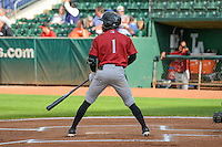 D.J. Burt (1) of the Idaho Falls Chukars at bat against the Ogden Raptors in Pioneer League action at Lindquist Field on August 26, 2015 in Ogden, Utah. Ogden defeated the Chukars 5-1.  (Stephen Smith/Four Seam Images)