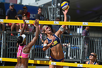 VADUZ, LIECHTENSTEIN, 10.08.2019- FIVB BEACH VOLLEYBALL WORLD TOUR: Claudia Galindo (E) da Colombia e Katja Stam (D) da Holanda durante a partida das quartas de final a contar para o torneio FIVB Beach Volleyball World Tour Star1 na Beacharena, em Vaduz, Liechtenstein, nesse sabado 10. (Foto: Bruno de Carvalho / Brazil Photo Press)