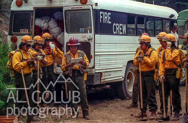 August 10, 1990 Yosemite National Park  --  A-Rock (Arch Rock) Fire  -- Fire crews from Fort Apache, Arizona get read to work the fireline. The Arch Rock Fire burned over 16,000 acres of Yosemite National Park and the Stanislaus National Forest.  At the same time across the Merced River, the Steamboat Fire burned over 5,000 acres of both Yosemite National Park and the Sierra National Forest.