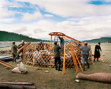 MONGOLIA, Khargana Sair, Khuvsgul National Park, men dismantle a ger camp in minutes