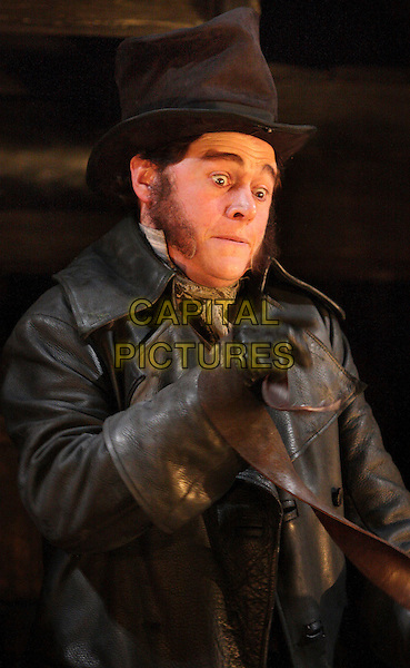 "BURN GORMAN as Bill Sikes .Stage Photocall for the latest production of the musical ""Oliver!"" Theatre Royal, Drury Lane, London,  January 12th 2009.scene acting play on stage set character Victorian Dickensian costume make-up half length top hat glove leather coat black jacket .CAP/ROS.©Steve Ross/Capital Pictures"