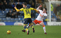 Blackpool's Callum Cooke battles with Oxford United's Josh Ruffels <br /> <br /> Photographer Mick Walker/CameraSport<br /> <br /> The EFL Sky Bet League One - Rochdale v Blackpool - Monday 1st January 2018 - Spotland Stadium - Rochdale<br /> <br /> World Copyright &copy; 2018 CameraSport. All rights reserved. 43 Linden Ave. Countesthorpe. Leicester. England. LE8 5PG - Tel: +44 (0) 116 277 4147 - admin@camerasport.com - www.camerasport.com