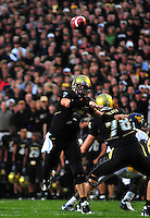 18 September 08: Colorado quarterback Cody Hawkins passes against West Virginia. The Colorado Buffaloes defeated the West Virginia Mountaineers 17-14 in overtime at Folsom Field in Boulder, Colorado. For Editorial Use Only.