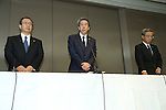 July 21, 2015, Tokyo, Japan - Toshiba President Hisao Tanaka, center, Chairman of the Board Masashi Muromachi, left, and Corporate Executive Vice President Keizo Maeda attend news conference at the company HQ in Tokyo on Tuesday, July 21, 2015. Tanaka and two other executives resigned to take responsibility for a $1.2 billion accounting scandal involving inflating its profit over several years. (Photo by AFLO)