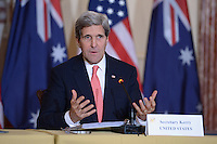 November 20, 2013  (Washington, DC)  Secretary of State John Kerry answers questions of the news media  during a meeting with the Australian Foreign Minister and  Australian officials at in the Ben Franklin Room of the State Department.  (Photo by Don Baxter/Media Images International)