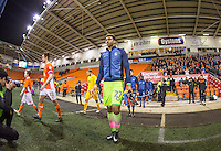 Goalkeeper Jamal Blackman of Wycombe Wanderers heads onto the pitch during the The Checkatrade Trophy match between Blackpool and Wycombe Wanderers at Bloomfield Road, Blackpool, England on 10 January 2017. Photo by Andy Rowland / PRiME Media Images.