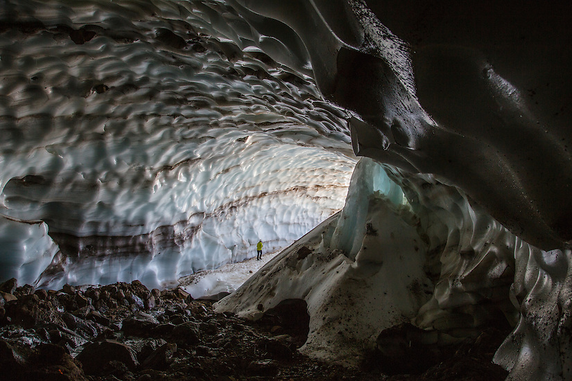 Exploring the Snow Dragon glacier cave on Mt Hood.
