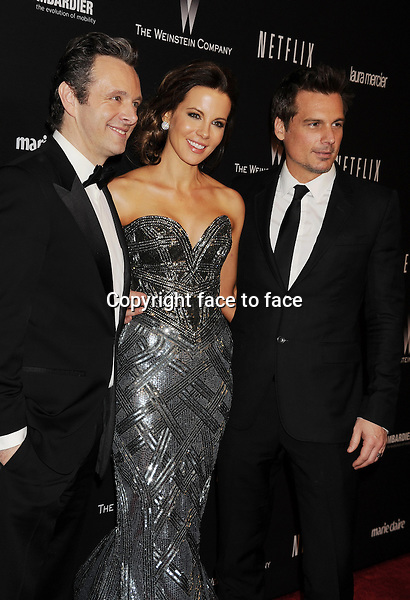 BEVERLY HILLS, CA- JANUARY 12: (L-R) Actor Michael Sheen, actress Kate Beckinsale and her husband director Len Wiseman attend The Weinstein Company &amp; Netflix 2014 Golden Globes After Party held at The Beverly Hilton Hotel on January 12, 2014 in Beverly Hills, California.<br />