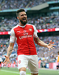 Olivier Giroud of Arsenal celebrates the second goal after providing the assist for scorer Aaron Ramsey of Arsenal during the Emirates FA Cup Final match at Wembley Stadium, London. Picture date: May 27th, 2017.Picture credit should read: David Klein/Sportimage