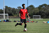 Lakewood Ranch, FL - Sunday Jan. 07, 2018: Akil Watts<br /> during an U-19 USMNT training session at Premier Sports Campus in Lakewood Ranch, FL.