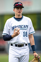 West Michigan Whitecaps outfielder Parker Meadows (18) before the game against the Bowling Green Hot Rods on May 21, 2019 at Fifth Third Ballpark in Grand Rapids, Michigan. The Whitecaps defeated the Hot Rods 4-3.  (Andrew Woolley/Four Seam Images)