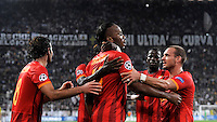 Galatasaray's forward Didier Drogba ( C ) celebrates with his teammates Inan Selcuk, Wesley Sneijder and Emmanuel Eboue' after scoring his 0-1 goal  <br /> Torino 02-10-2013 Juventus Stadium<br /> UEFA Champions League 2013/2014<br /> Football Calcio Juventus vs Galatasaray<br /> Foto Insidefoto Giorgio Perottino
