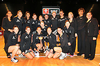 23.09.2012 Silver Ferns celebrate after the third netball test match between the Silver Ferns and the Australian Diamonds at CBS Canterbury Arena in Christchurch. Mandatory Photo Credit ©Michael Bradley.