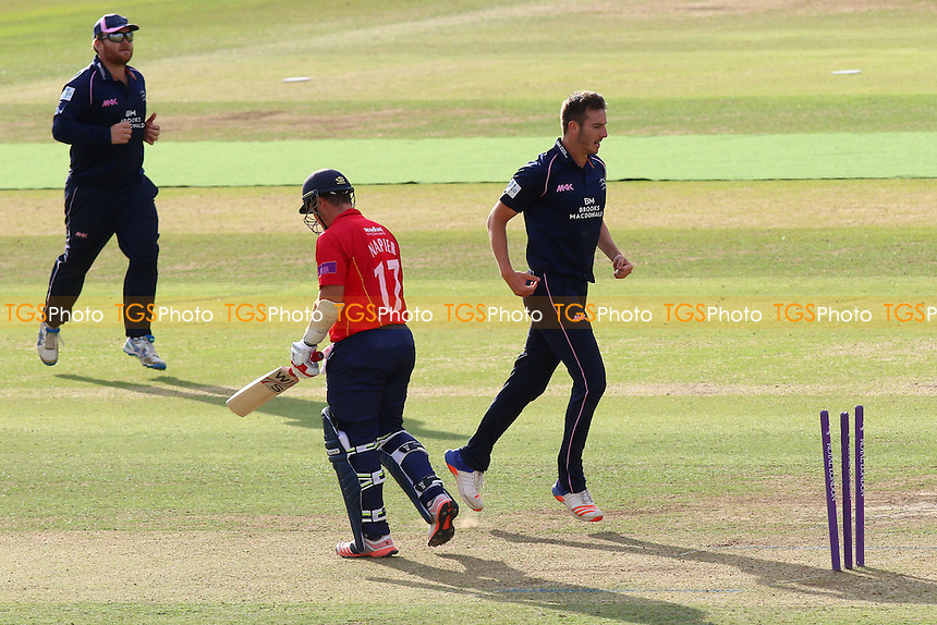 Toby Roland-Jones of Middlesex celebrates taking the wicket of Graham Napier during Middlesex vs Essex Eagles, Royal London One-Day Cup Cricket at Lord's Cricket Ground on 31st July 2016