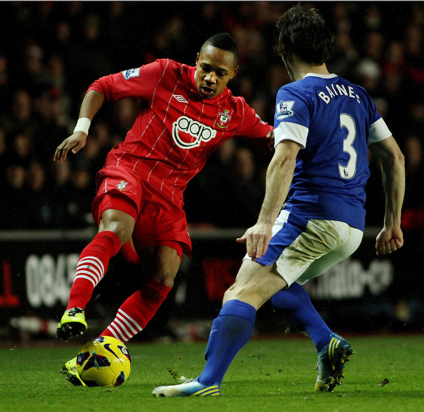 Southampton's Nathaniel Clyne in action during todays match against Everton's Leighton Baines..- Credit - CameraSport - James Marsh - ..Football - Barclays Premiership - Southampton v Everton - Monday 21st January 2013 - St Mary's - Southampton..