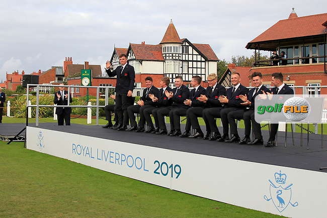 James Sugrue (GB&I) being introduced during the Official Opening of the Walker Cup, Royal Liverpool Golf CLub, Hoylake, Cheshire, England. 06/09/2019.<br /> Picture Thos Caffrey / Golffile.ie<br /> <br /> All photo usage must carry mandatory copyright credit (© Golffile   Thos Caffrey)