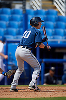 Lakeland Flying Tigers right fielder Luke Burch (20) squares around to bunt during a game against the Dunedin Blue Jays on May 27, 2018 at Dunedin Stadium in Dunedin, Florida.  Lakeland defeated Dunedin 2-1.  (Mike Janes/Four Seam Images)