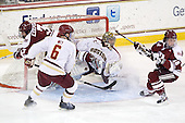 Kevin Czepiel (UMass - 3), Patrick Wey (BC - 6), Parker Milner (BC - 35), Eddie Olczyk (UMass - 16) - The Boston College Eagles defeated the visiting University of Massachusetts-Amherst Minutemen 2-1 in the opening game of their 2012 Hockey East quarterfinal matchup on Friday, March 9, 2012, at Kelley Rink at Conte Forum in Chestnut Hill, Massachusetts.