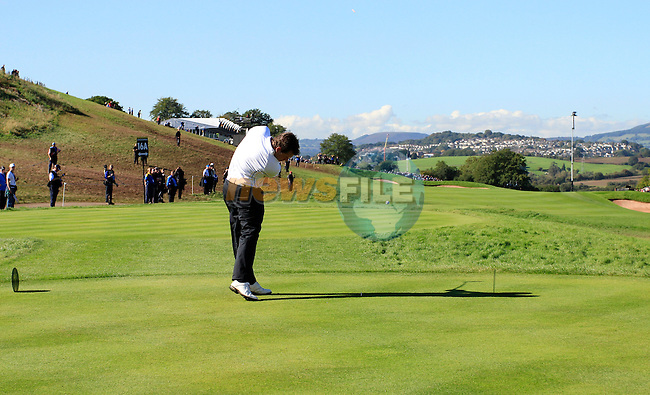 Lee Westwood drives off on the 16th tee in Match 1 of the Singles Matches during the Final Day of the The 2010 Ryder Cup at the Celtic Manor, Newport, Wales, 3rd October 2010..(Picture Eoin Clarke/www.golffile.ie)