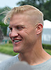 Josh McCown, New York Jets quarterback, laughs as he speaks with the media on the day players reported to training camp at the Atlantic Health Jets Training Center in Florham Park, NJ on Friday, July 28, 2017.