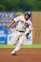 Tri-City ValleyCats second baseman Rodrigo Ayarza (4) running the bases during a game against the Auburn Doubledays on August 25, 2016 at Falcon Park in Auburn, New York.  Tri-City defeated Auburn 4-3.  (Mike Janes/Four Seam Images)
