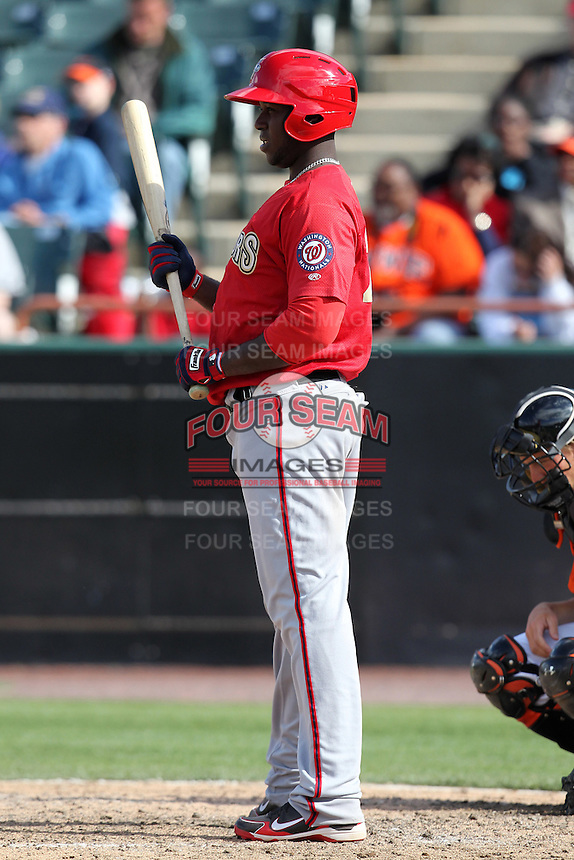 Harrisburg Senators pinch hitter Jesus Valdez #20 at bat during a game against the Bowie BaySox at Prince George's Stadium on April 8, 2012 in Bowie, Maryland.  Harrisburg defeated Bowie 5-2.  (Mike Janes/Four Seam Images)