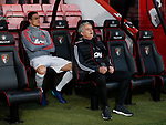 Jose Mourinho manager of Manchester United sits in front of Nemanja Matic of Manchester United during the premier league match at the Vitality Stadium, Bournemouth. Picture date 18th April 2018. Picture credit should read: David Klein/Sportimage