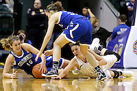 Penn guard/forward Camryn Buhr (34) drives on the floor for a loose ball against Columbus North forward Elle Williams (15) during the IHSAA Class 4A Girls Basketball State Championship Game on Saturday, Feb. 27, 2016, at Bankers Life Fieldhouse in Indianapolis.