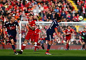 24th March 2018, Anfield, Liverpool, England; LFC Foundation Legends Charity Match 2018, Liverpool Legends versus FC Bayern Legends; Giovane Elber wins the ball in midfield from Daniel Agger of Liverpool Legends as Alexander Zickler looks on