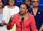 United States Representative Nydia Velazquez (Democrat of New York) makes remarks during the second session of the 2016 Democratic National Convention at the Wells Fargo Center in Philadelphia, Pennsylvania on Tuesday, July 26, 2016.<br /> Credit: Ron Sachs / CNP<br /> (RESTRICTION: NO New York or New Jersey Newspapers or newspapers within a 75 mile radius of New York City)