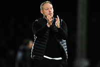 Steve Cooper Head Coach of Swansea City applauds the fans at the final whistle during the Sky Bet Championship match between Fulham and Swansea City at Craven Cottage on February 26, 2020 in London, England. (Photo by Athena Pictures/Getty Images)