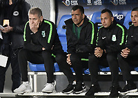BOGOTA - COLOMBIA, 17-01-2019: Paulo Autuori de Mello técnico del Atletico Nacional gesticula durante partido con Independiente Santa Fe por la final del Torneo Fox Sports 2019 jugado en el estadio Nemesio Camacho El Campin de la ciudad de Bogotá. / Paulo Autuori de Mello coach of Atletico Nacional gestures during match against Independiente Santa Fe for the Fox Sports  Tournament 2019 played at Nemesio Camacho El Campin Stadium in Bogota city. Photo: VizzorImage / Gabriel Aponte / Staff.