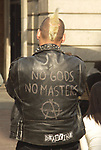 A51PCA Back view of male punk wearing black leather jacket Covent Garden London England