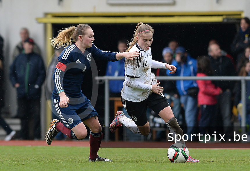 20150404 - FORST , GERMANY  : duel pictured between Scottish Lucy Graham (left) and German Laura Freigang (right) during the soccer match between Women Under 19 teams of Germany and Scotland , on the first matchday in group 5 of the UEFA Elite Round Women Under 19 at WaldseeStadion , Forst , Germany . Saturday 4th April 2015 . PHOTO DAVID CATRY