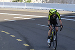 Adam Yates (GBR) Mitchelton-Scott races solo towards the finish of Stage 3 The Emirates Stage of the UAE Tour 2020 running 184km from Al Qudra Cycle Track to Jebel Hafeet, Dubai. 25th February 2020.<br /> Picture: LaPresse/Fabio Ferrari   Cyclefile<br /> <br /> All photos usage must carry mandatory copyright credit (© Cyclefile   LaPresse/Fabio Ferrari)