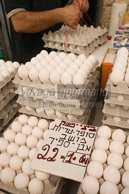 Asie/Israël/Judée/Jérusalem détail étal d'oeufs du marché Mahane Yehuda un des marchés les plus importants de la a ville