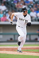 Justin Morneau (36) of the Charlotte Knights hustles down the first base line against the Pawtucket Red Sox at BB&T BallPark on July 6, 2016 in Charlotte, North Carolina.  The Knights defeated the Red Sox 8-6.  (Brian Westerholt/Four Seam Images)