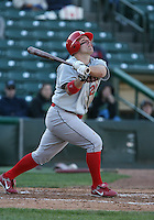 2007:  Gary Burnham of the Ottawa Lynx follows through during an at bat vs. the Rochester Red Wings in International League baseball action.  Photo By Mike Janes/Four Seam Images