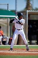 GCL Marlins Javeon Cody (27) at bat during a Gulf Coast League game against the GCL Astros on August 8, 2019 at the Roger Dean Chevrolet Stadium Complex in Jupiter, Florida.  GCL Astros defeated GCL Marlins 4-2.  (Mike Janes/Four Seam Images)