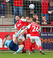 Accrington Stanley's Billy Kee shoots acrobatically over the bar<br /> <br /> Photographer Alex Dodd/CameraSport<br /> <br /> The EFL Sky Bet League One - Fleetwood Town v Accrington Stanley - Saturday 15th September 2018  - Highbury Stadium - Fleetwood<br /> <br /> World Copyright &copy; 2018 CameraSport. All rights reserved. 43 Linden Ave. Countesthorpe. Leicester. England. LE8 5PG - Tel: +44 (0) 116 277 4147 - admin@camerasport.com - www.camerasport.com