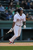 First baseman Josh Ockimey (18) of the Greenville Drive bats in a game against the Asheville Tourists on Thursday, April 7, 2016, at Fluor Field at the West End in Greenville, South Carolina. Greenville won, 4-3. (Tom Priddy/Four Seam Images)