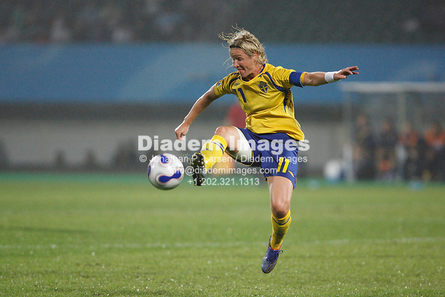 CHENGDU, CHINA - SEPTEMBER 11:  Victoria Svensson of Sweden brings the ball down during a Women's World Cup soccer match against Nigeria September 11, 2007 in Chengdu, China.  (Photograph by Jonathan P. Larsen)