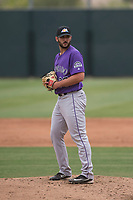 Colorado Rockies relief pitcher Colton Hathcock (33) prepares to deliver a pitch during an Extended Spring Training game against the Arizona Diamondbacks at Salt River Fields at Talking Stick on April 16, 2018 in Scottsdale, Arizona. (Zachary Lucy/Four Seam Images)