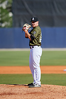 Biloxi Shuckers relief pitcher Nate Griep (24) gets ready to deliver a pitch during a game against the Jacksonville Jumbo Shrimp on May 6, 2018 at MGM Park in Biloxi, Mississippi.  Biloxi defeated Jacksonville 6-5.  (Mike Janes/Four Seam Images)