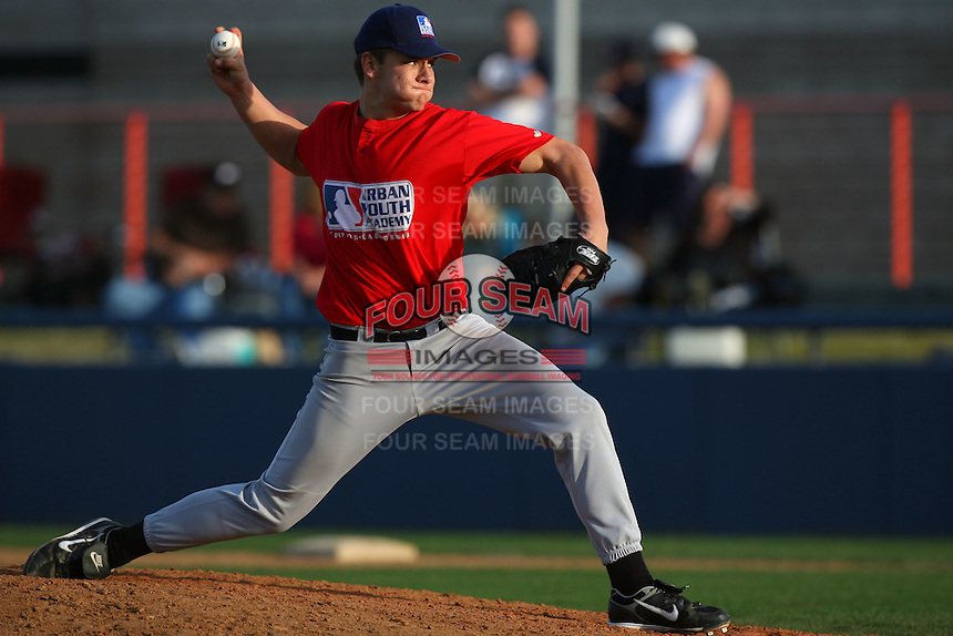 February 10 2008: Chad Smith participates in a MLB pre draft workout for high school players at the Urban Youth Academy in Compton,CA.  Photo by Larry Goren/Four Seam Images